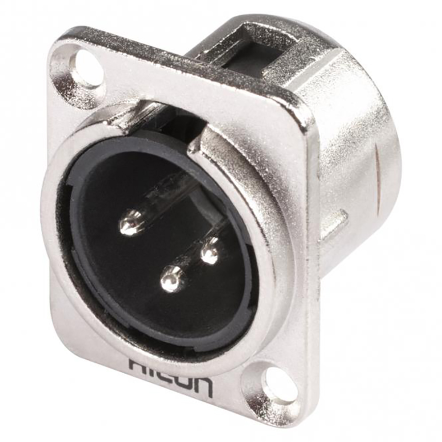 HICON XLR, 3-pole , metal-, Soldering-male connector, nickel plated contact(s), Type D, nickel coloured