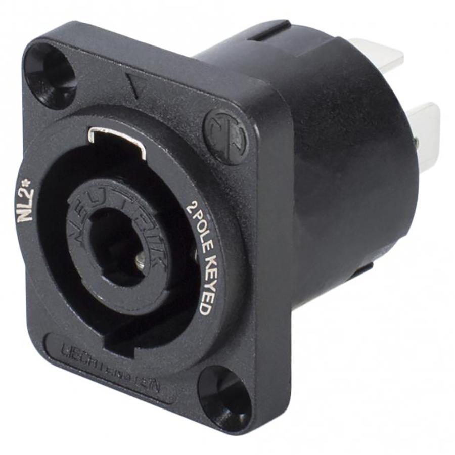 "NEUTRIK SpeakON, 2-pole , plastic-, 3/16"" Flat tabs-male connector, silver plated contact(s), Type D, black"