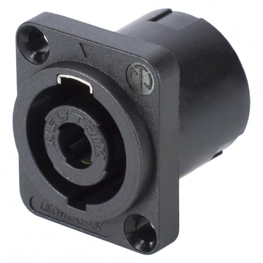 NEUTRIK SpeakON, 4-pole , plastic-, Print connection vertical-male connector, silver plated contact(s), Type D, black