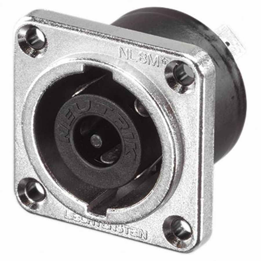 NEUTRIK SpeakON, 8-pole , metal-, Soldering-male connector, silver plated contact(s), Type G, nickel coloured