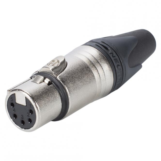 NEUTRIK XLR, 5-pol , metal-, Soldering-female connector, silver plated contact(s), straight, nickel coloured