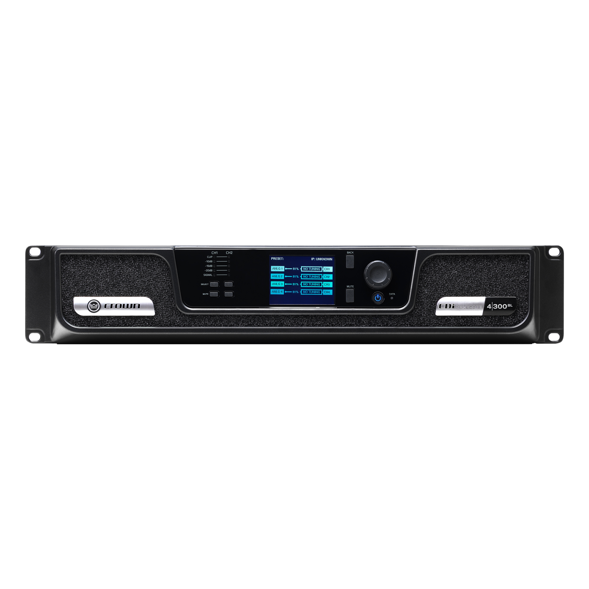 Analog + BLU link input, 4 channel, 300W per output channel, Amplifier