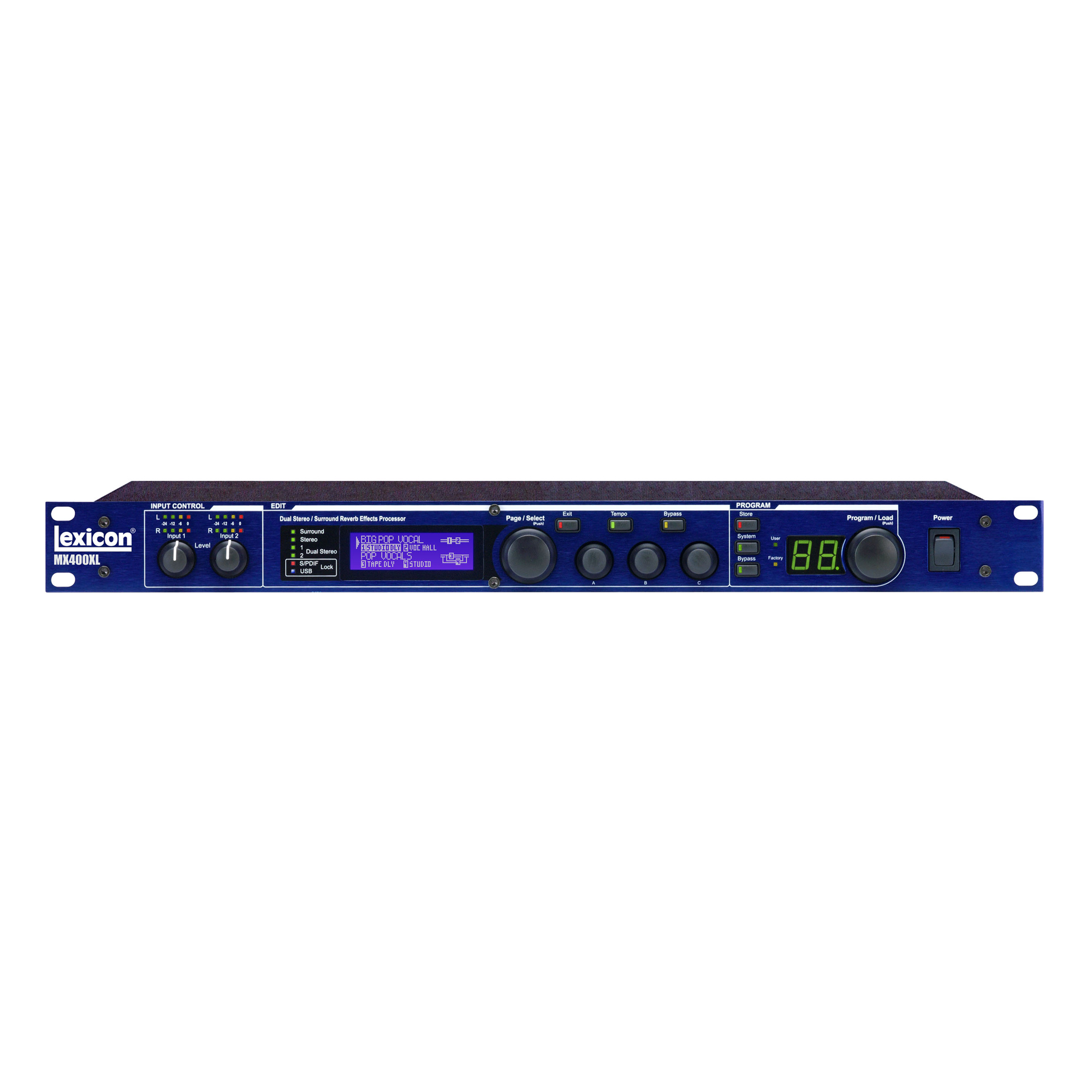 "4-in/4-out Reverb/Effects Processor with USB ""Hardware Plug-In"" Capability and XLR connectors"