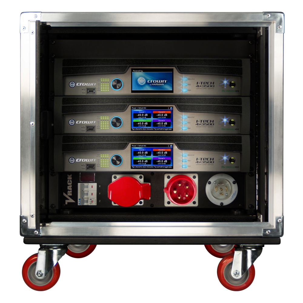Touring rack fitted with three Crown I-Tech HD Series power amplifiers